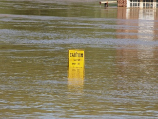 flooded caution sign