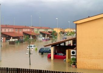 suburban community flooded