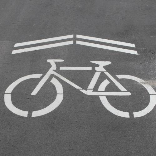 bike lane symbol on asphalt