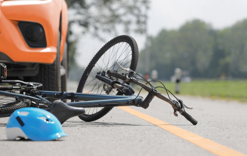 car accident with bicycle on road