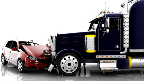 car and semi truck in accident